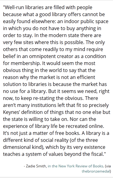 Zadie Smith on Libraries